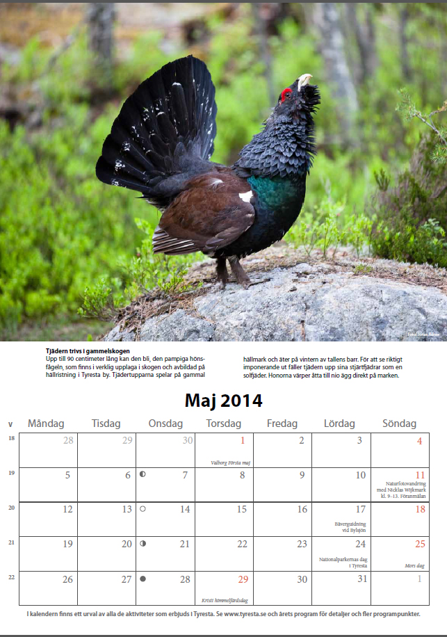 Kalender  för Tyresta nationalpark 2014